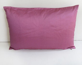 STOCK CLERANCE 40% OFF-mauve silk oblong pillow cover 12X18inch-1 in stock