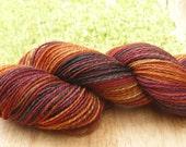 "Handspun Fingering Yarn ""Firebird"" SW Merino & Silk 270 yds."