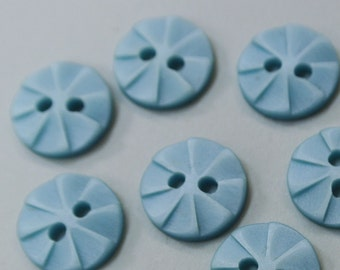 Lot of 13 small vintage 1980s unused light blue plastic buttons for your sewing or decoration prodjects