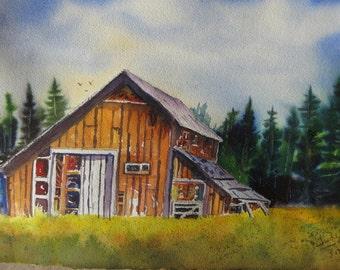 "Original Watercolor Art Landscape Painting JUDE-Title:""Rural Idaho Solitude"""