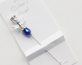 Sapphire Blue Angel Pin - Quilter's Angel Stick Pin - Gift for Quilter
