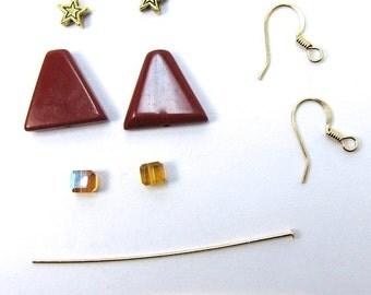 Red Jasper Gemstone Christmas Tree Earring Kit