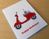 Vespa Scooter - Happy Birthday Card