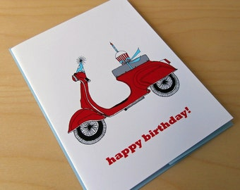 SALE Vespa Scooter - Happy Birthday Card