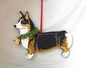 Hand-Painted WELSH CORGI TRI-Color Standing Wood Christmas Ornament Artist Original...choose pine or candy cane
