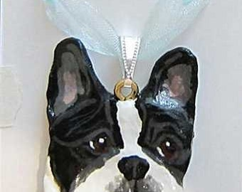 Dog Breed FRENCH BULDOG PIED Handpainted Clay Necklace/Pendant Artist Painted