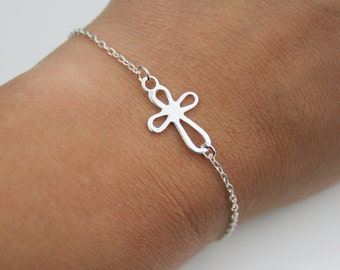 Cross Bracelet in Sterling Silver - Adjustable Sterling Silver Sideways Cross Bracelet