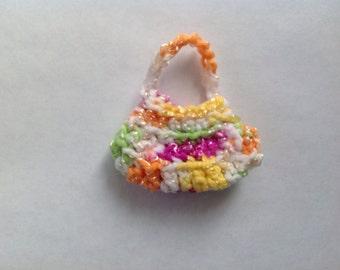 Handmade Barbie Clothes Purse Handbag Crochet Variegated (S1810)