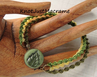 Olive, Green, and Yellow Spiral Micro Macrame Bracelet Artist Epoxy Clay Clasp Leaf