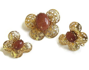 Vintage Copper Filigree Goldstone Butterfly Brooch or Pin and Earrings Demi Parure Set