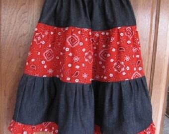 Denim Bandana Tiered Skirt  Made to order
