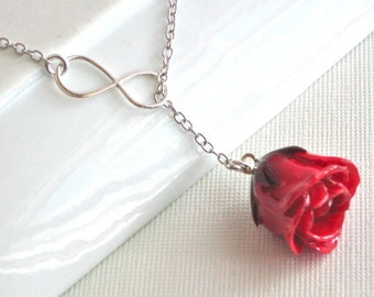 Real Rosebud Infinity Lariat Necklace -  Red Rose Necklace, Real Flower Jewelry, Infinity Necklace, Sterling Silver Necklace