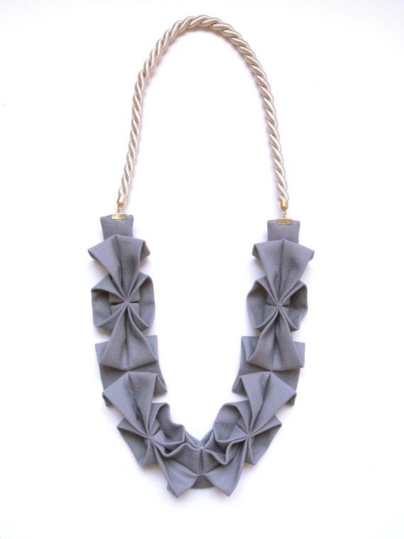 Origami Hana Rope Necklace -  Light Gray