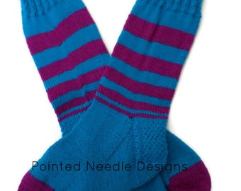 Socks - Hand Knit Women's Vibrant Violet and Razzleberry Socks - Size 6-8