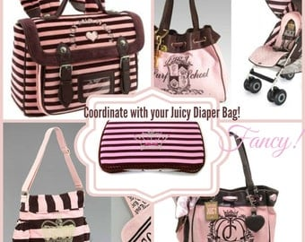 Juicy Couture Inspired wipe case Pink and Brown Stripes Bling Crown baby wipes cases crystal crown Coordinates with Juicy Couture Bag