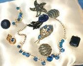 Destash Vintage Blue Rhinestone Lot