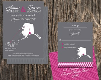 Alaska Wedding Invitation Set - Hope, Anchorage, Juneau Destination Wedding