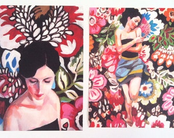 Rimma / 2  Big prints - Folk art print - flowers / blue/ red/ white/ girl print / woman drawing print  Portrait drawing - ART PRINT size A3
