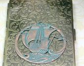 Come Sail Away Pirate Ship Embossed Brass Metal Cigarette Case Large 100's OOAK by Shadesongs