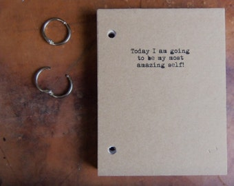 My most AMAZING self! Journal Binder/Natural Kraft Hardcover Notebook/approx 4.25 x 5.5/50 Pages/Rustic/Humor gift