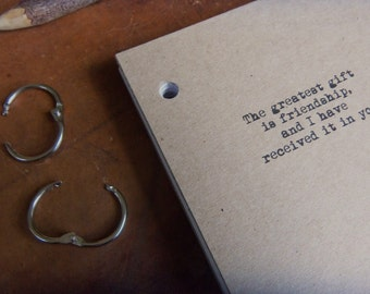 Thank you for your friendship Journal Binder/Natural Kraft Hardcover Notebook/approx 4.25 x 5.5/50 Pages/Rustic