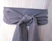 Obi Sash Belt in Grey and White Dots Cotton Fabric - made to order