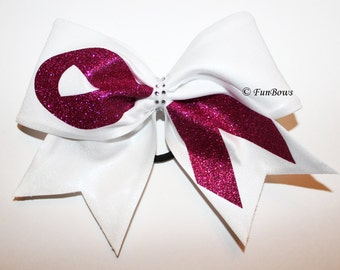 Funbows Original Gorgeous Breast Cancer Ribbon Hairbow - Cheerleading !