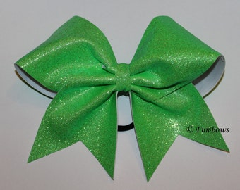 SALE - Neon Green Glitter Cheer Bow - allstar - by Funbows !
