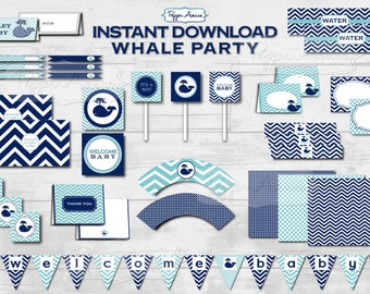 Light Blue & Navy Whale Party Package - Baby Shower or Birthday Party - Printable PDF Files - INSTANT DOWNLOAD