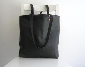 Black Leather Tote Shoulder Bag