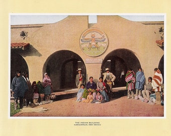 1927 Print of the Indian Building, Albuquerque, New Mexico FREE U.S. SHIPPING