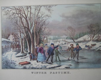 Winter Fun, Large Antique color Lithograph Print, FREE U.S. SHIPPING