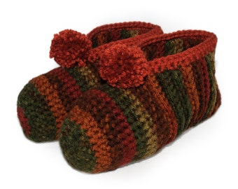 Autumn Slippers, Fall Colors, Crocheted Slippers, Fall Slippers, Earthy Colored Slippers, Burnt Orange Slipper, Ladies Slipper, Mens Slipper