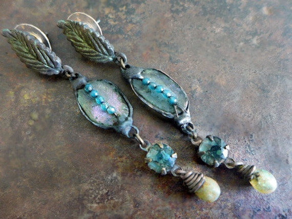Winding Creek. Rustic Bling  assemblage earrings with Roman glass, rhinestones.