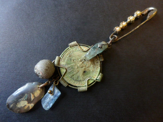 Mapuche. Victorian Tribal dangle cluster assemblage art brooch.