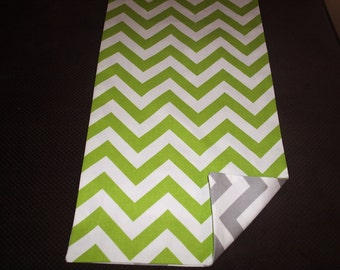 Green and Gray Chevron ReversibleTable Runner