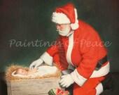 Santa - Jesus - Christ - Christmas - Religious - 16 x 20 print- FREE SHIPPING this WEEK