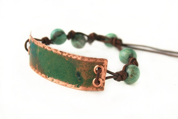 Patina Copper Leather Bracelet by JudysDesigns