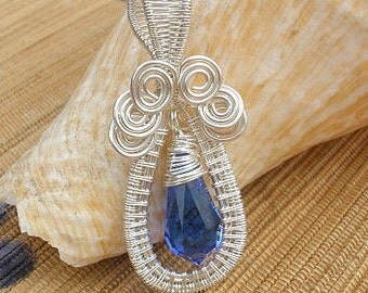 Swarovski crystal Sapphire blue small drop wire wrapped handmade pendant