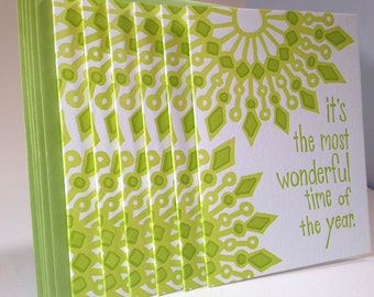 30 Pack Letterpress Mandala Holiday Card - Green Color Combination