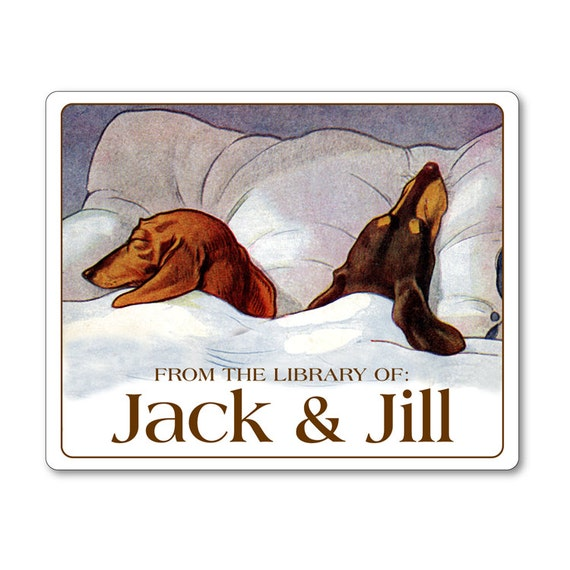 Sleeping Dachshunds Personalized Ex Libris Bookplates - DOG LOVER GIFT