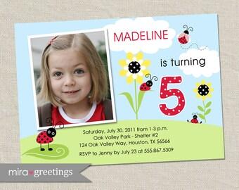 Ladybug Birthday Invitations - Flower Party Invites - Lady Bug Invitation Design (Printable Digital File)