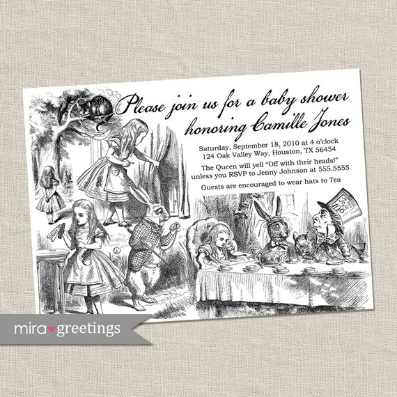 Alice in Wonderland Invitations - Alice Baby Shower / Bridal Shower - Invites - Alice in Wonderland Vintage Classic (Printable Digital File)