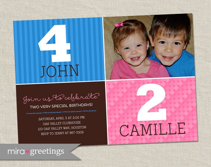 Girl and Boy Joint Birthday Party Invitation - Printable Digital File