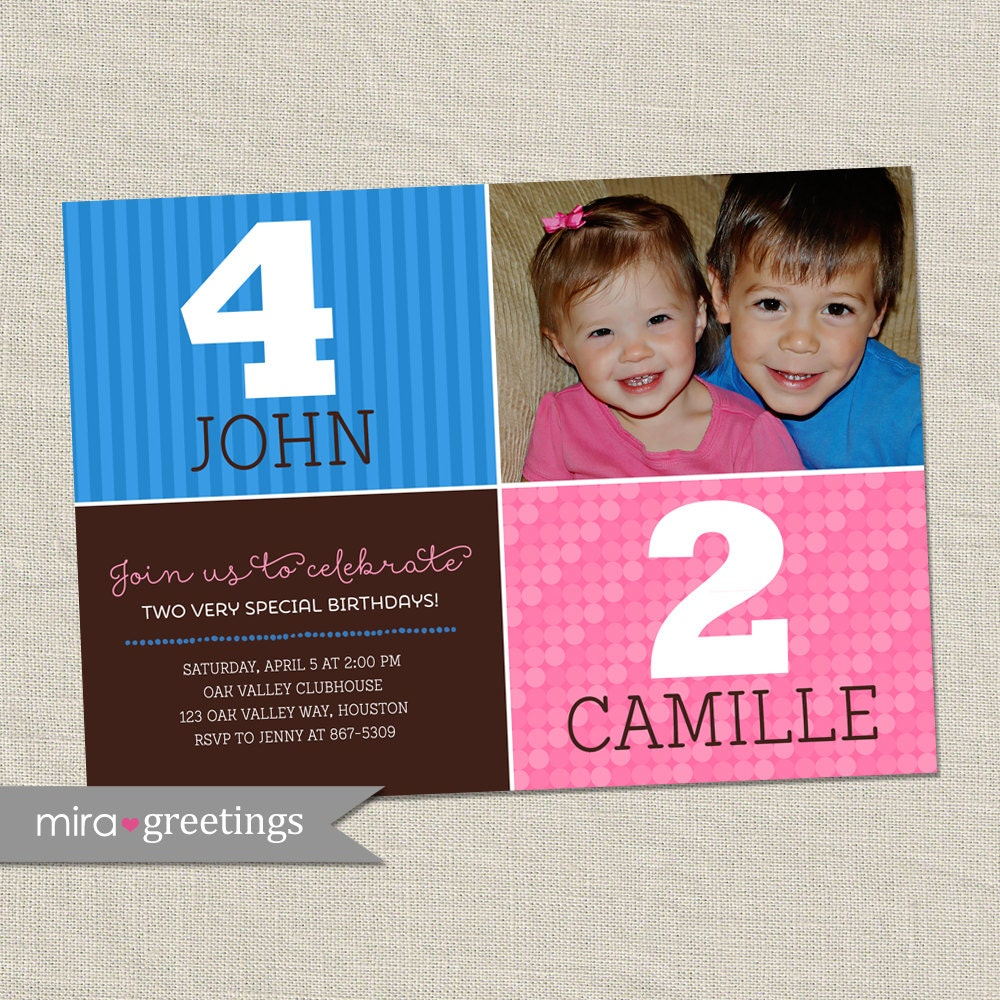 Double Birthday Party Invitation Sibling Birthday Or Joint