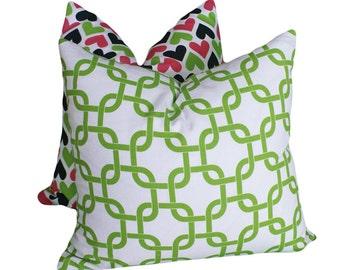 Green Chain Link Pillow Covers, PILLOW SALE, 12x18 Lumbar Pillow, Green White Pillows, Modern Home Decor