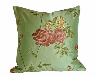 Green Pink Embroidered Cushion Covers, Luxury Decorative Pillows, Silk Floral Pillows, Country Flowers, Unique, Eclectic,  20x20