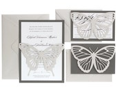 Butterfly Wedding Invitations - shimmer silver, slate gray, black and white, neutral, pearl shimmer, laser cut, monarch, wedding invites
