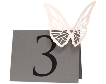 Butterfly Table Numbers - sign, slate gray, blush pink, delicate, wedding shower, baby shower, monarch, lasercut, simple elegance, marriage