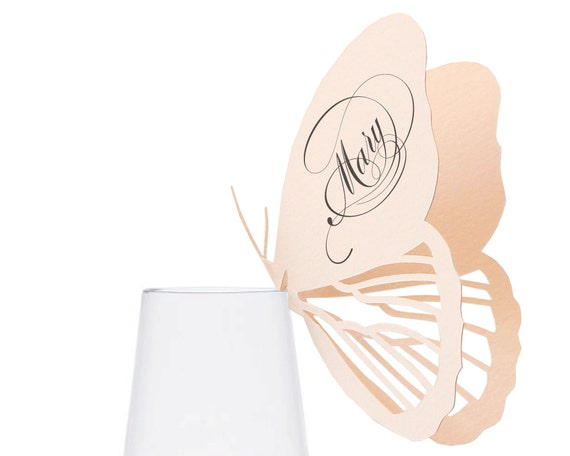 Butterfly Place Cards - whimsical, neutral, escort card, placecard, table number, wedding, marriage, insect, blush pink, wine glass, vintage